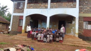 Children in front of school