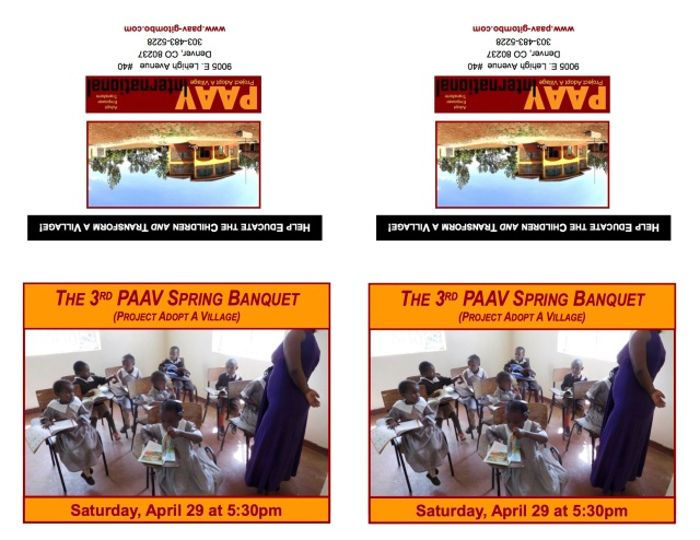 PAAV Banquet Invitation card April 29 2017 March 6